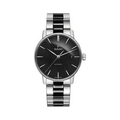 Rado Coupole Classic Men's Automatic Black Ceramic And Stainless Steel Bracelet Watch. This sleek Rado Coupole Classic men's watch has an elegant dial with a da Old Watches, Swiss Army Watches, Watches For Men, Stainless Steel Watch, Stainless Steel Bracelet, Rolex, Durable Watches, Aquamarine Jewelry, Diamond Jewelry