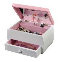 Mele Tasha Girl's Foil Art One Drawer Musical Jewelry Box in White 00819F10