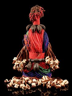 Africa | Fertility doll from the Namji people of Cameroon | Wood, glass beads, natural fiber, shells, leather, seeds