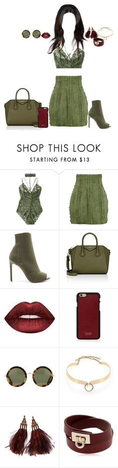 """Co-ord outfit"" by rabbitcult ❤ liked on Polyvore featuring Balmain, Steve Madden, Givenchy, Lime Crime, Vianel, The Row, Alexis Bittar, Louis Vuitton and Salvatore Ferragamo"