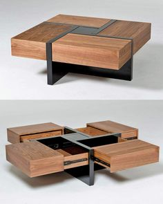 Coffee Table With Drawers, Cool Coffee Tables, Cool Tables, Coffe Table, Modern Coffee Tables, Wood Table Design, Coffee Table Design, Furniture Projects, Diy Furniture