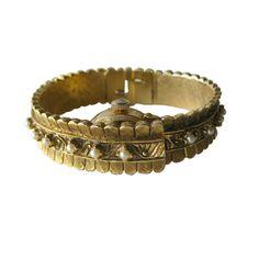 Vintage Lucerne Bypass Watch Bracelet  Pearl by openslate on Etsy