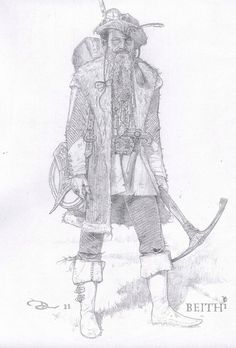 """Costume illustration for """"Beith"""" (Ian McShane) from 'Snow White and the Huntsman' 2012. Design by Colleen Atwood."""