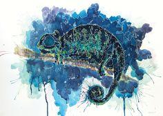 Chameleon watercolor + gel pencil