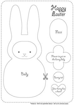 Pattern can be used to make a cute little bunny plush or a pieced paper scrapbook accessory/gift tag