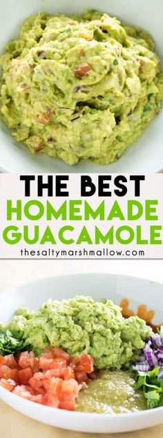 The Best Guacamole Recipe! This classic guacamole has a secret ingredient that m… The Best Guacamole Recipe! This classic guacamole has a secret ingredient that makes it the absolute best! An easy recipe for guacamole and how to make it! Healthy Recipes, Dip Recipes, Mexican Food Recipes, Appetizer Recipes, Healthy Snacks, Vegetarian Recipes, Healthy Eating, Cooking Recipes, Ethnic Recipes