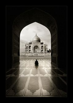 -solitude- Taj Mahal is an ivory-white marble mausoleum on the south bank of the Yamuna river in the Indian city of Agra.