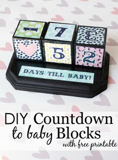 DIY Countdown to Baby Blocks w/ free printable - fun craft and great gift idea!