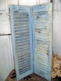 French Blue shabby vintage wooden shutter distressed beachy cottage decor Anita Spero. $52.00, via Etsy.