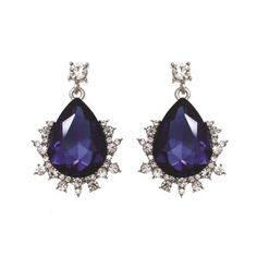 Dangling Royal Blue Color Faceted Tear Drop Glass Stone Post Earrings #Unbranded…