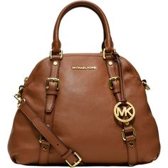 Michael Michael Kors Bedford Leather Bowling Satchel Bag ($398) ❤ liked on Polyvore