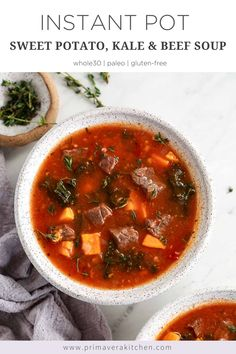 Instant Pot beef soup is just what you are craving on a winter evening. Hearty and filling with lots of nutritious veggies, this one pan meal is ready in about 30 minutes. Paleo Recipes Easy, Whole 30 Recipes, Free Recipes, Paleo Diet Plan, Paleo Menu, Diet Plans, Take A Meal, Sugar Free Bacon, Sweet Potato Kale