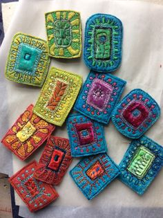 Retrospective Dog Daisy Chains by Jackie - Her work always amazes me! on etsy… Fabric Beads, Fabric Art, Fabric Crafts, Sewing Crafts, Fiber Art Jewelry, Textile Jewelry, Fabric Jewelry, Fabric Bracelets, Jewellery