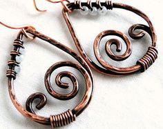 Antiqued Copper Teardrop Earrings Hammered Jewelry Spiral Dreamland Earrings