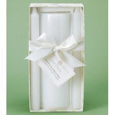 """Unity candle set makes a statement of classic beauty and grace on your wedding day when paired with your unity candleholder. Creamy ivory 100% paraffin wax candles; includes 9"""" x 3"""" pillar and two 10"""" tapers. Beautifully packaged with matching bow and Scripture tag. From the Anna Griffin ® Collection."""