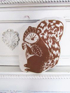 Plush Squirrel Pillow. Hand Woodblock Printed. by LauraFrisk, $16.50
