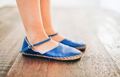 blue handmade shoes