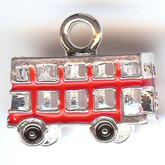 TWO 3D Enameled Silver Plated Charms. Double Decker BUS. London. Tour. Free Gift with Order. on Etsy, $2.25 AUD