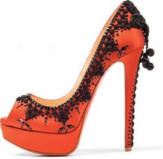 #Louboutins in #Tangerine Tango id like these is red, hot pink, black, and maybe like a glittery gold or silver! Love the lace though