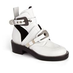 Women's Balenciaga Cutout Buckle Boot ($1,275) via Polyvore featuring shoes, boots, ankle booties, white leather, leather ankle booties, white leather boots, leather boots, cut out booties and leather motorcycle boots