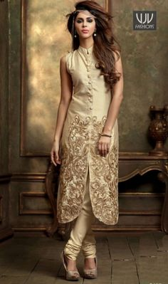 Refresh your old looks to new wearing on this churidar suit in beige color embroidered silk. This stunning attire is showing some incredible embroidery done with patch and resham work. Pakistani Couture, Pakistani Outfits, Indian Outfits, Indian Bollywood, Bollywood Fashion, Bollywood Stars, Indian Attire, Indian Wear, Desi Clothes