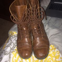 Brown combat boots Purchased from Payless for $45 and not my style anymore worn once with small scuff in front of left shoe but not other flaws! PINK Victoria's Secret Shoes Combat & Moto Boots