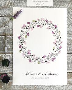 Wreath Guest fingerprint guest book for weddings, birthdays, naming days etc. Fingerprint Guest Book