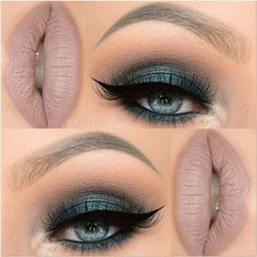 Beautiful dark green smokey eye with black blended into light brown on the crease finished with winged black eye liner and black lashes - a neutral brown or taupe lipstick works best with this look #makeup...x