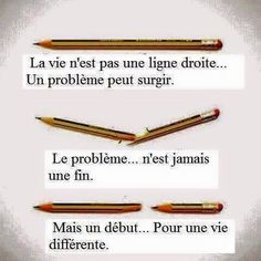 Life is not a straight line, because a problem can arise. The problem is never an end, but a beginning for a different life. Positive And Negative, Positive Attitude, Positive Mind, Best Quotes, Love Quotes, Inspirational Quotes, Motivational Quotes, Jolie Phrase, Psychology Quotes