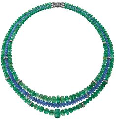 A Sapphire, Emerald and Diamond NecklaceDesigned as a three-strand graduated emerald and sapphire bead necklace, accented by pavé-set diamond rondelles, to the collet-set circular and baguette-cut...