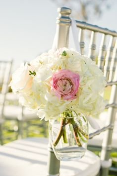Hydrangeas + Roses | Chelsea Elizabeth Photography | #Wedding Ceremony