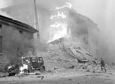 Burning building in Helsinki, Finland after Soviet bombing, 30 November 1939.