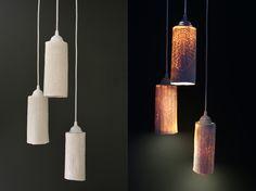 Jen Graham. ceramic light shades   printed with vintage fabrics  fit ikea fixtures.