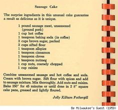 Vintage Recipes 1950S | Vintage/Retro Recipes / Sausage Cake