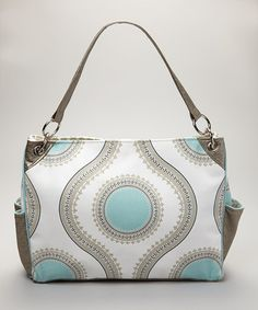 Another great find on #zulily! Light Gray & Blue Medallion Flower Chic Diaper Bag #zulilyfinds