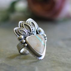 Royston Ribbon Turquoise Ring, Oxidised, Sterling Silver Gemstone Ring - Florid Ring in Royston-