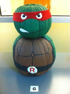 Leonardo Ninja Turtles Painted Pumpkin | Ninja Turtle Pumpkin