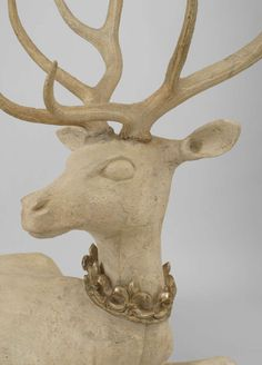 Pair of Life-Sized English Country Stag Sculptures | From a unique collection of antique and modern animal sculptures at http://www.1stdibs.com/furniture/more-furniture-collectibles/animal-sculptures/
