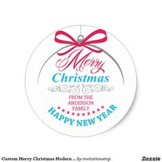 Custom Merry Christmas Modern Ornament Sticker