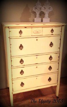 Antique Yellow Dresser painted in Custom Chalk Paint color. custom for Yvette