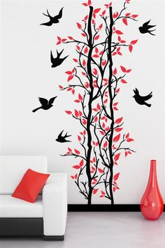 Wall Art Decor Flying Birds And Tree Wall Sticker by Wall Art Decor Online - For Living Room - Decor - Pepperfry Product Simple Wall Paintings, Creative Wall Painting, Wall Painting Decor, Diy Wall Art, Wall Art Decor, Faux Painting, Painting Furniture, Room Decor, Wall Stickers Cool