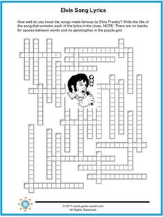 We supply lyrics from popular Elvis tunes, and your job is to supply the title. How quickly can you complete this free printable crossword Nursing Home Activities, Senior Activities, Activities For Adults, Music Activities, Elvis Presley's Birthday, Grandma Birthday, Crafts For Seniors, Kids Crafts, Alzheimers Activities