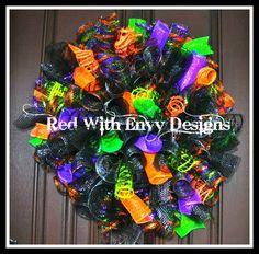 Halloween Spiral Wreath Halloween Wreath by RedWithEnvyDesigns, $70.00