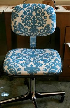 DIY reupholstered office chair and lots of inspiration for other reupholstery work. Furniture Projects, Furniture Makeover, Diy Furniture, Chair Makeover, Furniture Upholstery, Modern Furniture, Furniture Design, Recover Office Chairs, Do It Yourself Furniture