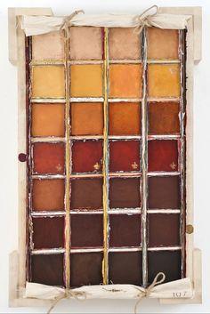 Envoi 107 #dravetart #art #louisboudreault #colour #burntsienna #brown #pigments #decor #home #series #boxes
