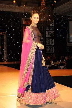 Manish Malhotra Collection 2013: Navy and pink lahenga