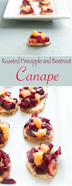 This beetroot canape with rum roasted pineapples is the perfect vegan appetizer recipe for any gathering. Bagel bites make for a very strong base for the toppings