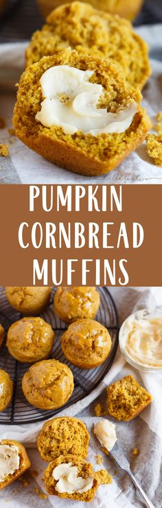 Ditch the dinner rolls and give these pumpkin cornbread muffins a shot! The perfect companion to your dinner table or holiday meal. Warm cornbread muffins slathered in butter are the way to go! Healthy Dessert Recipes, Desserts, Cornbread Muffins, Pumpkin Spice Syrup, Thanksgiving Side Dishes, Thanksgiving Leftovers, Dinner Rolls, Sweet Bread, Dinner Table