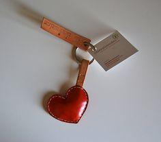 leather heart keychain handmade portschiavi in by manuleather