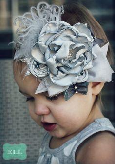 Shabby chic vintage gray headband
